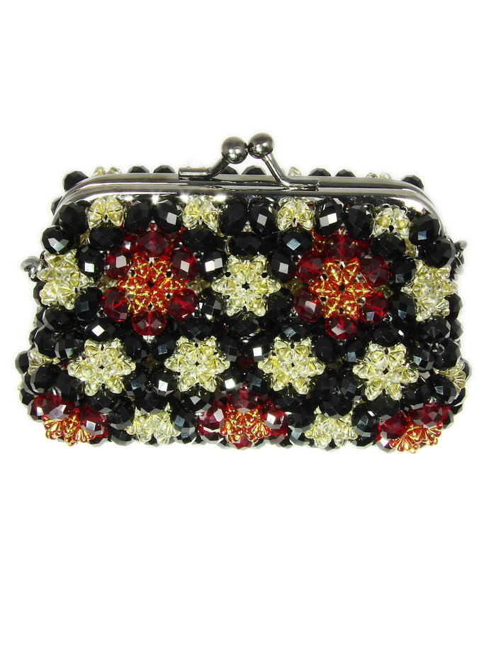 Purse for cocktail party. Beaded Cocktail Purse. Small Black Beaded Purse. - Martinuzzi Accessories