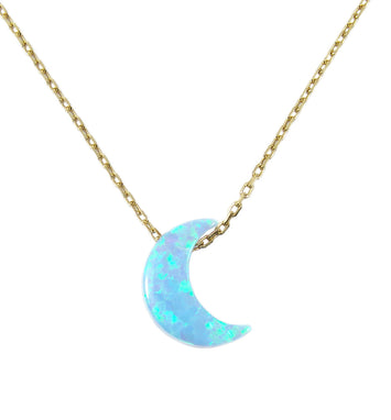 Light Blue opal half moon silver necklace - Martinuzzi Accessories