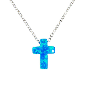 Opal Cross Pendant Necklace 925 Sterling Silver Chain Link. Opal  Fire Cross Charm Necklace, Necklace with cross