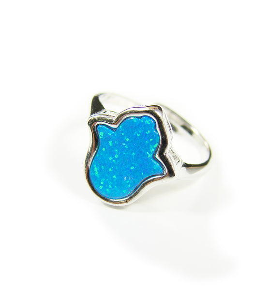 Hamsa Ring Hand of Fatima Blue Opal 925 Sterling Silver Adjustable Ring