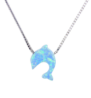 Opal Dolphin Pendant Necklace Sterling Silver Tiny Blue Gift for Her