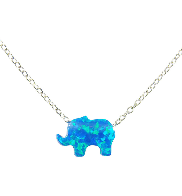 Opal Elephant Necklace 925 Sterling Silver Lucky Pendant Charm - Martinuzzi Accessories
