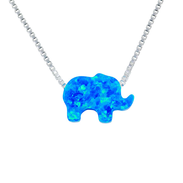 blue opal elephant necklace for women - Martinuzzi Accessories