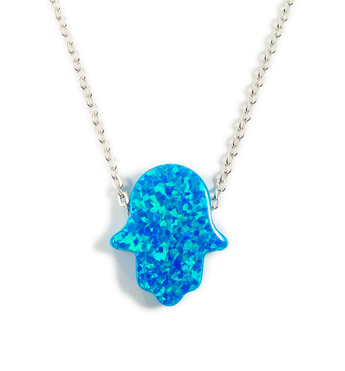 Opal hamsa hand pendant necklace 925 sterling silver chain opal hamsa hand pendant necklace 925 sterling silver chain martinuzzi accessories aloadofball Images
