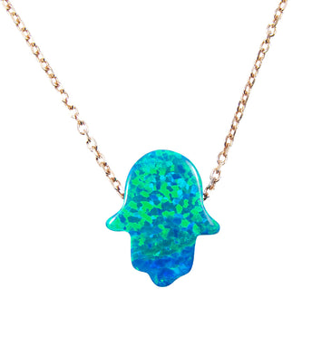 blue opal hamsa hand necklace rose gold - martinuzzi accessories