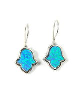 Opal hamsa hand earrings Blue silver frame