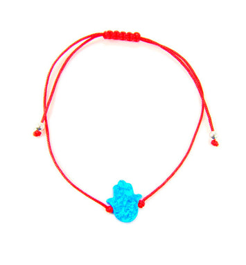 Opal Hamsa Hand Red String Bracelet  - Martinuzzi Accessories