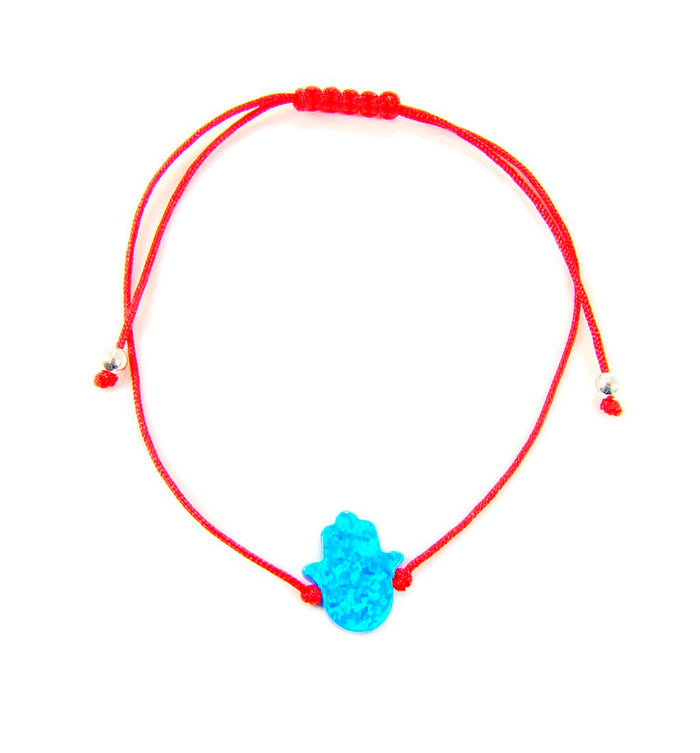 Hamsa Hand Bracelet Opal Red String Hand of Fatima Bangle Amulet  - Martinuzzi Accessories