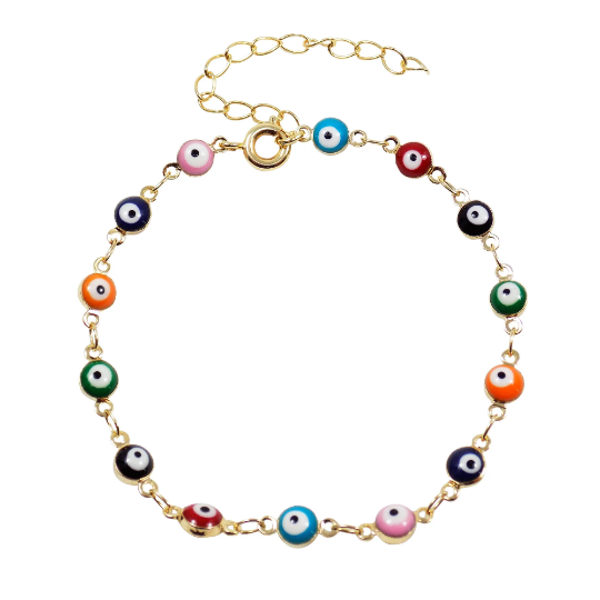 Evil eye bracelet. Multi-color Evil Eye Bracelet Tiny evil eye charm