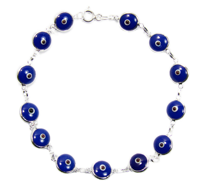 Evil Eye Bracelet Blue Beads Silver links Turkish Greek Eye Amulet Talisman - Martinuzzi Accessories