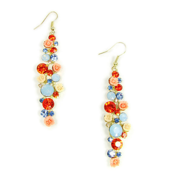 Crystal Drop Multicolor Earrings with Ceramic Flowers