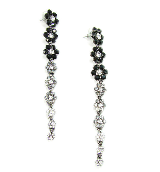 Crystal Flower Drop Earrings Black, Grey and White Crystal Flowers