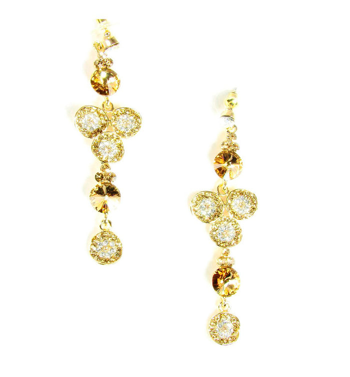 Gold Tone Drop Earrings with White and Gold Rhinestones