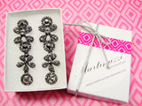 Gunmetal Drop Earrings with Rhinestones - Martinuzzi Accessories