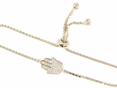 Hamsa hand 925 Sterling Silver Adjustable Tennis Bracelet