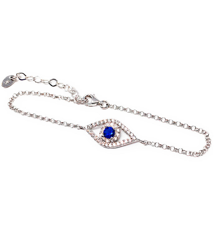 Evil Eye Chain Bracelet 925 Sterling Silver and Cubic Zirconia Stones