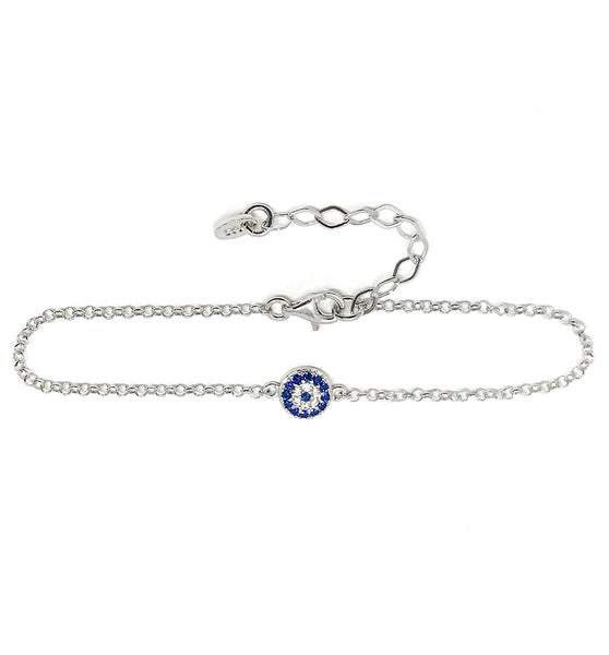 Evil Eye Chain Bracelet Sterling Silver Turkish Little Round Charm Cubic Zirconia