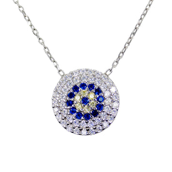 evil eye necklace sterling silver CZ