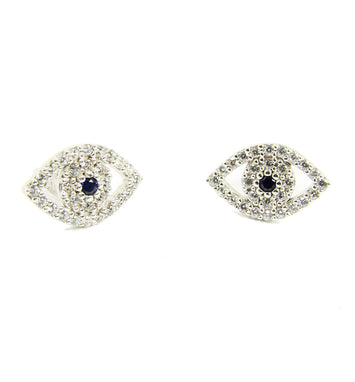 Evil Eye Earrings 925 Sterling Silver Cubic Zirconia Evil Eye Earrings