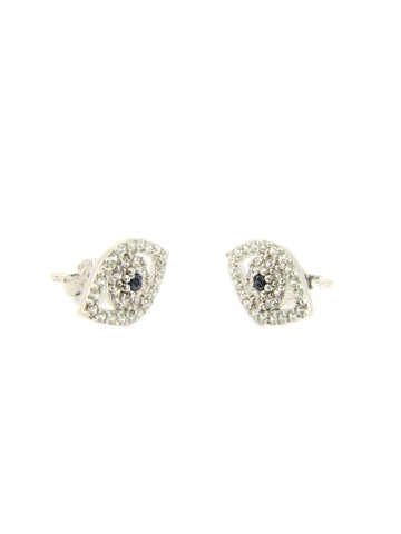 Evil eye stud earrings. 925 Sterling Silver Cubic Zirconia Stud Earrings - Martinuzzi Accessories
