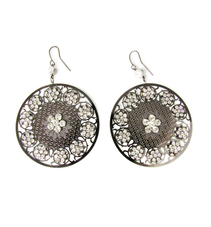 Rounded Floral Earrings with Crystals