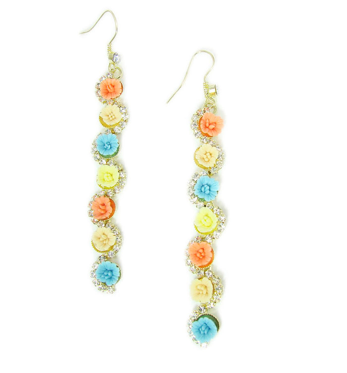 Colorful Ceramic Flower Drop Earrings with Crystals
