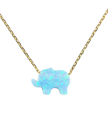 Opal Elephant Pendant Necklace 925 Sterling Silver Gold Plated Chain - Martinuzzi Accessories
