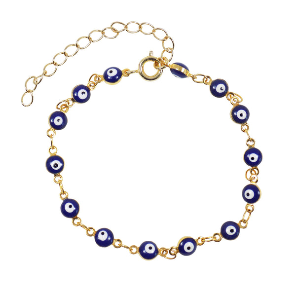 Blue Evil Eye Bracelet, Tiny Turkish Eye Bracelet Gold plated Chain, Dark Blue Lucky Evil Eye Anklet, Blue Evil Eye Anklet, Gift for her