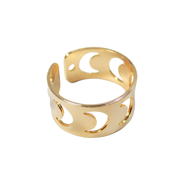 Crescent Moon Ring. Half Moon Ring Adjustable Gold Plated Golden Color