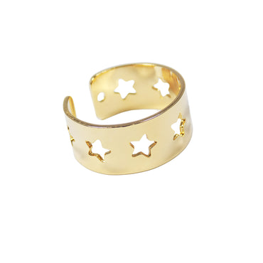 Star Ring Gold Plated Adjustable. Star Shape Band Ring Celestial Jewelry. Gift for Her - Martinuzzi Accessories