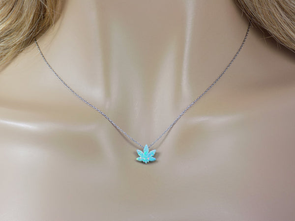 Marijuana Leaf Pendant Necklace. Weed Pot Grass Charm Green Cannabis Necklace. Mary Jane Charm Necklace