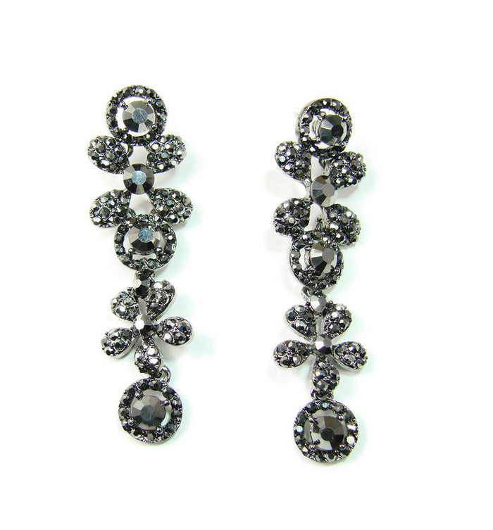 Gunmetal Drop Earrings with Rhinestones