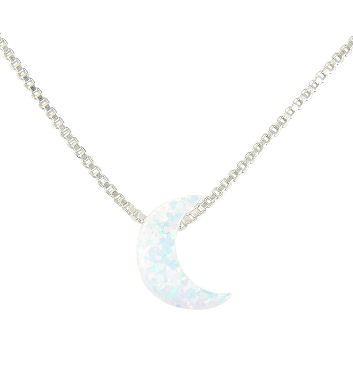 Moon necklace opal pendant crescent moon sterling silver box chain white half moon opal necklace martinuzzi accessories aloadofball Images