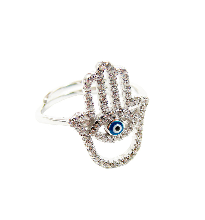 Hamsa Hand Evil Eye Ring. Sterling Silver Hamsa and Evil Eye Ring with CZ Stones