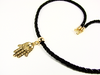 Hamsa Hand Pendant Necklace. Gold filled Hamsa hand choker necklace