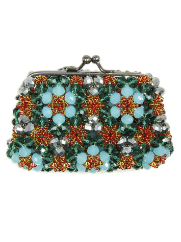 Beaded Aquamarine Purse Small Cocktail Glamorous High Style Women Flower Clutches Evening Bags Handbags Wedding Clutch Purse Beaded purses evening bag. - Martinuzzi Accessories