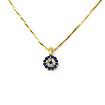 Evil eye Necklace 925 Sterling Silver Cz Charm Box chain