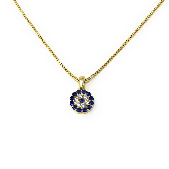 Evil eye Necklace 925 Sterling Silver Cz Charm Box chain - Martinuzzi Accessories