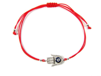 Red String Hamsa Hand Evil Eye Charm Bracelet Red String Hamsa Evil Eye Adjustable Bracele - Martinuzzi Accessories