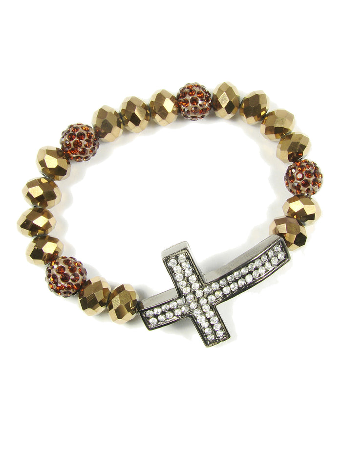Beaded Bracelet with Cross. Elastic Cross Bracelet - Martinuzzi Accessories