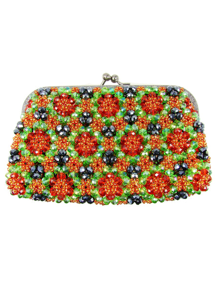 Purse. Beaded handbag. Green handbag. - Martinuzzi Accessories