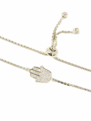 Hamsa hand 925 Sterling Silver Adjustable Tennis Bracelet - Martinuzzi Accessories