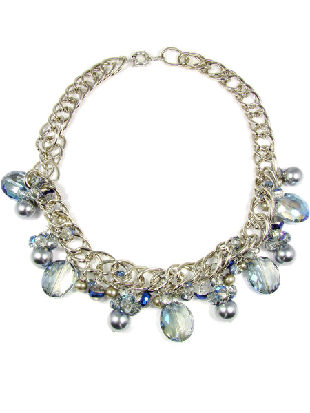 Beaded Statement Necklace Blue Crystal Glass Pearl Rodhium Rings Crystal Bead Necklace Glass Beads Synthetic Pearls