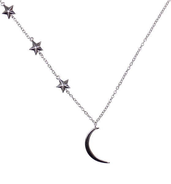 Sterling Silver Half Moon and Stars Choker Necklace