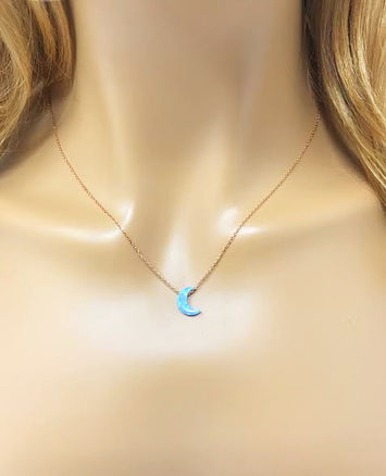 Half Crescent Moon Necklace Light Blue Opal Pendant Rose Gold Plated Sterling Silver Chain