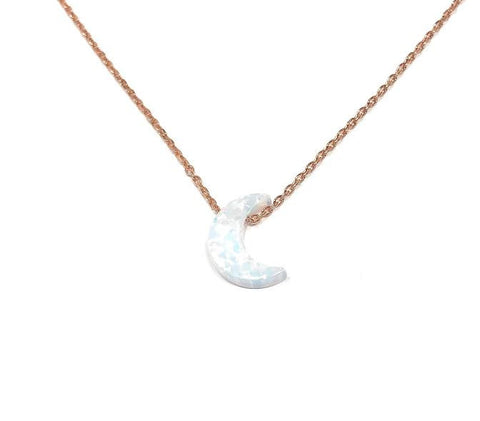 Half Crescent Moon Necklace White Opal Pendant Rose Gold Plated Sterling Silver Chain