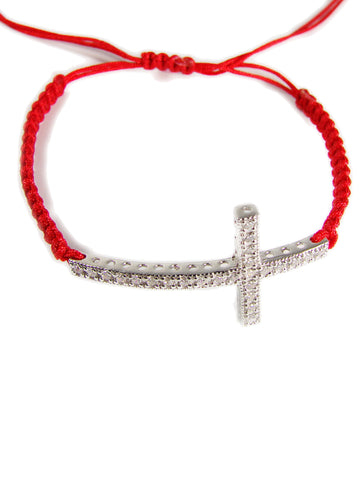 Cross Bracelet 925 Sterling Silver CZ on Macrame
