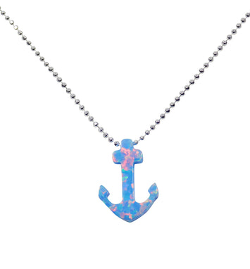 opal anchor necklace silver