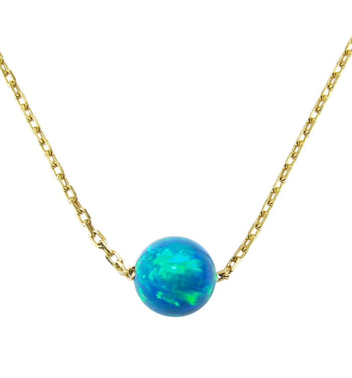 peacock opal ball pendant necklace sterling silver gold plated - Martinuzzi Accessories