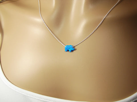 elephant pendant necklace blue opal sterling silver chain link